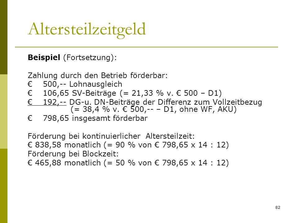 82 Altersteilzeitgeld Beispiel (Fortsetzung): Zahlung durch den Betrieb förderbar: 500,-- Lohnausgleich 106,65 SV-Beiträge (= 21,33 % v. 500 – D1) 192