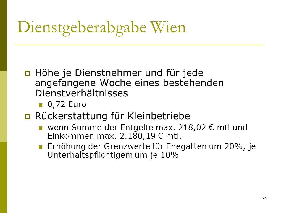 95 Dienstgeberabgabe Wien Höhe je Dienstnehmer und für jede angefangene Woche eines bestehenden Dienstverhältnisses 0,72 Euro Rückerstattung für Kleinbetriebe wenn Summe der Entgelte max.