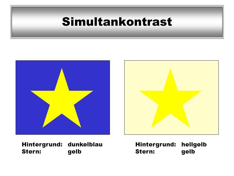 Hintergrund:dunkelblau Stern:gelb Hintergrund:hellgelb Stern:gelb Simultankontrast
