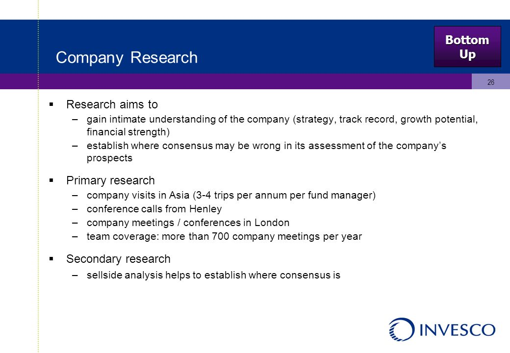 26 Company Research Research aims to –gain intimate understanding of the company (strategy, track record, growth potential, financial strength) –establish where consensus may be wrong in its assessment of the companys prospects Primary research –company visits in Asia (3-4 trips per annum per fund manager) –conference calls from Henley –company meetings / conferences in London –team coverage: more than 700 company meetings per year Secondary research –sellside analysis helps to establish where consensus is BottomUp