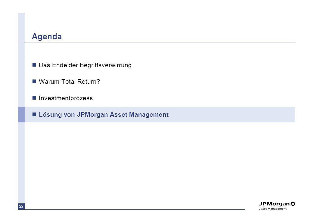 22 Agenda Das Ende der Begriffsverwirrung Warum Total Return? Investmentprozess Lösung von JPMorgan Asset Management