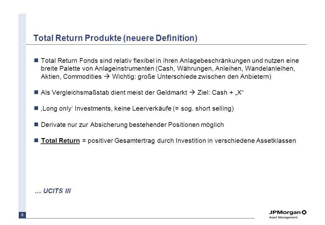 8 Total Return Produkte (neuere Definition) Total Return Fonds sind relativ flexibel in ihren Anlagebeschränkungen und nutzen eine breite Palette von