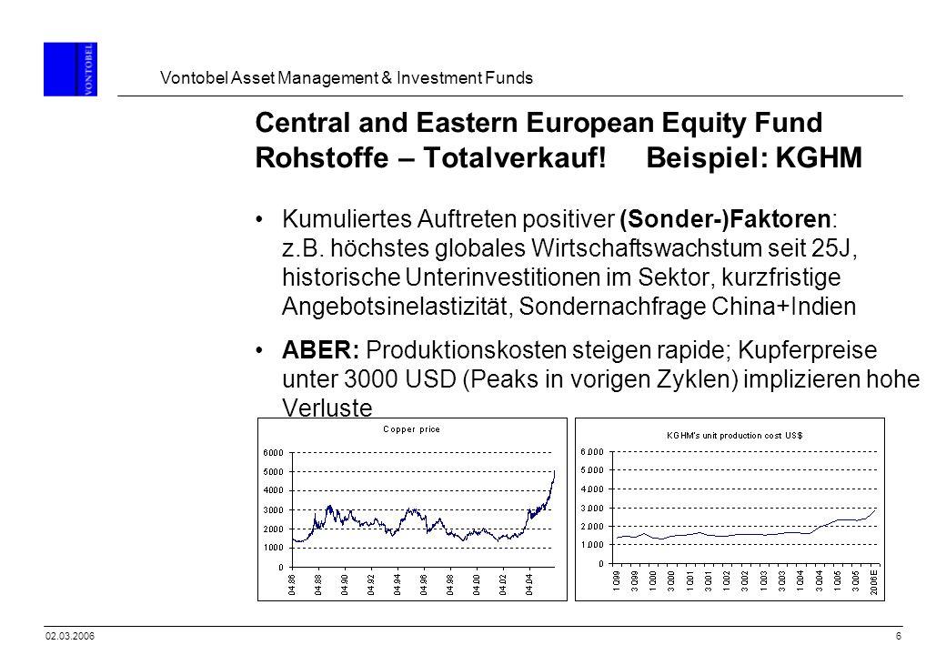 Vontobel Asset Management & Investment Funds 702.03.2006 Central and Eastern European Equity Fund Rohstoffe – Totalverkauf.