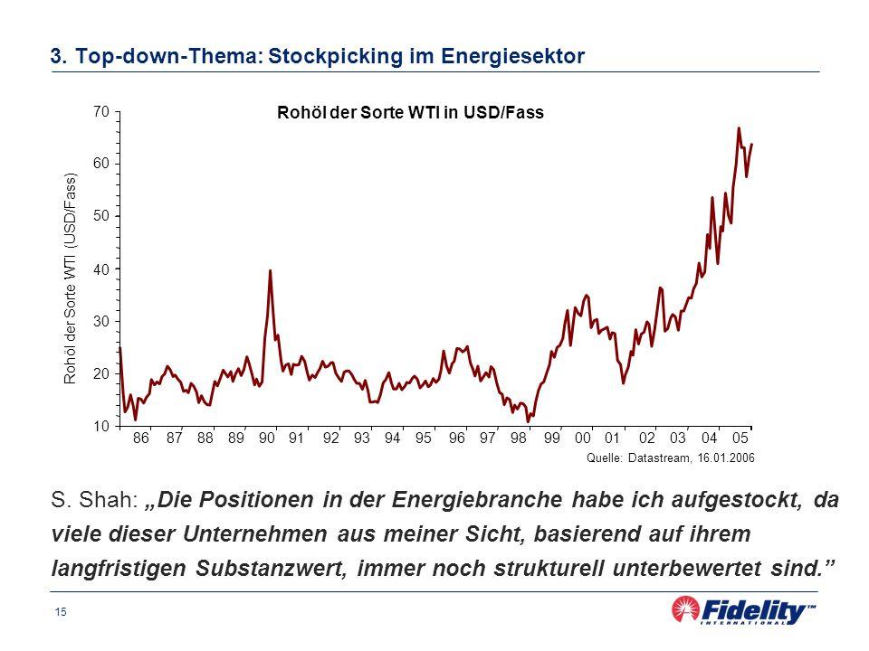 15 3. Top-down-Thema: Stockpicking im Energiesektor S. Shah: Die Positionen in der Energiebranche habe ich aufgestockt, da viele dieser Unternehmen au