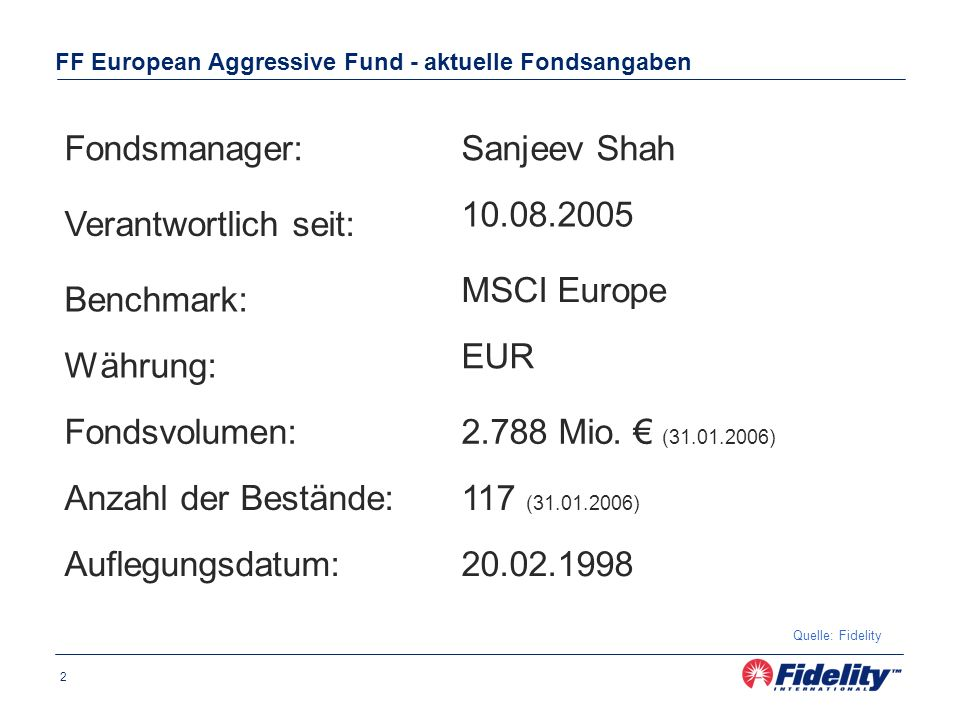 2 FF European Aggressive Fund - aktuelle Fondsangaben Quelle: Fidelity Fondsmanager:Sanjeev Shah Benchmark: MSCI Europe Währung: EUR Fondsvolumen:2.788 Mio.