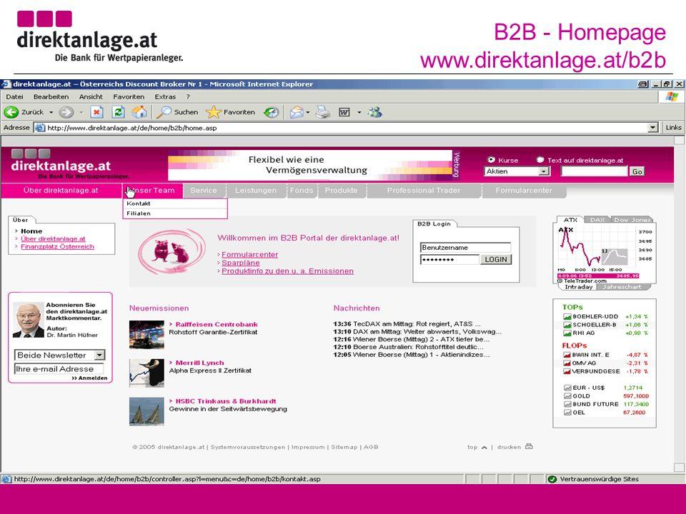B2B - Homepage www.direktanlage.at/b2b