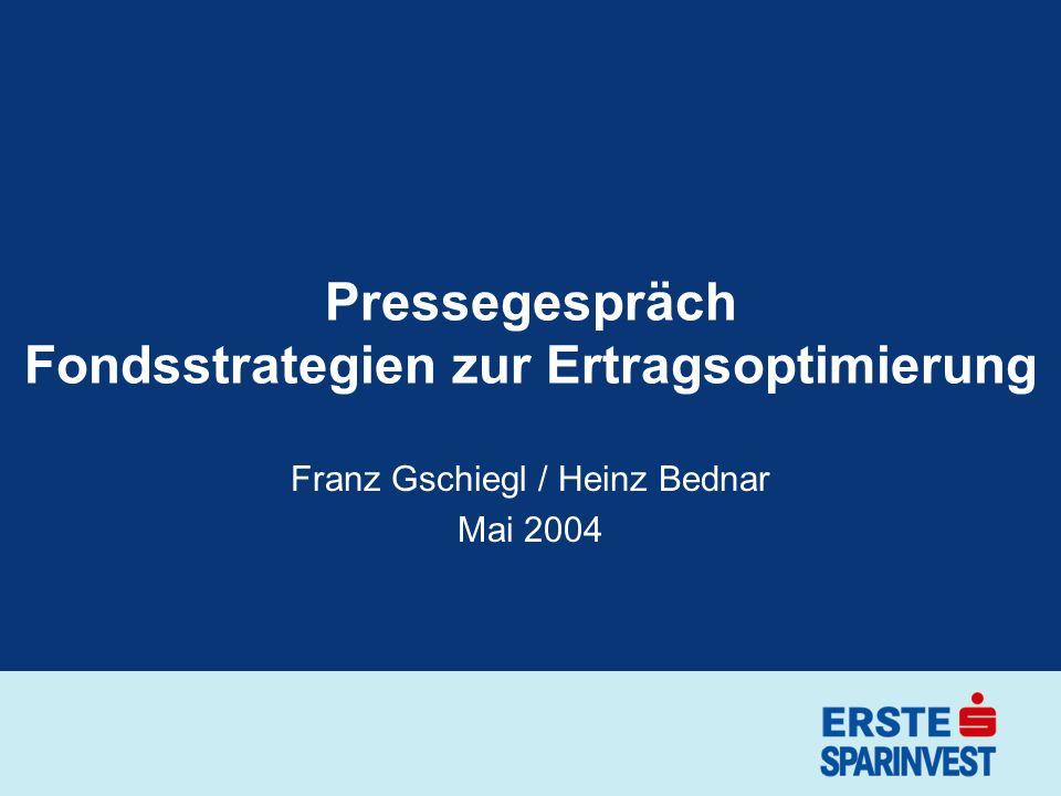 Pressegespräch Fondsstrategien zur Ertragsoptimierung Franz Gschiegl / Heinz Bednar Mai 2004