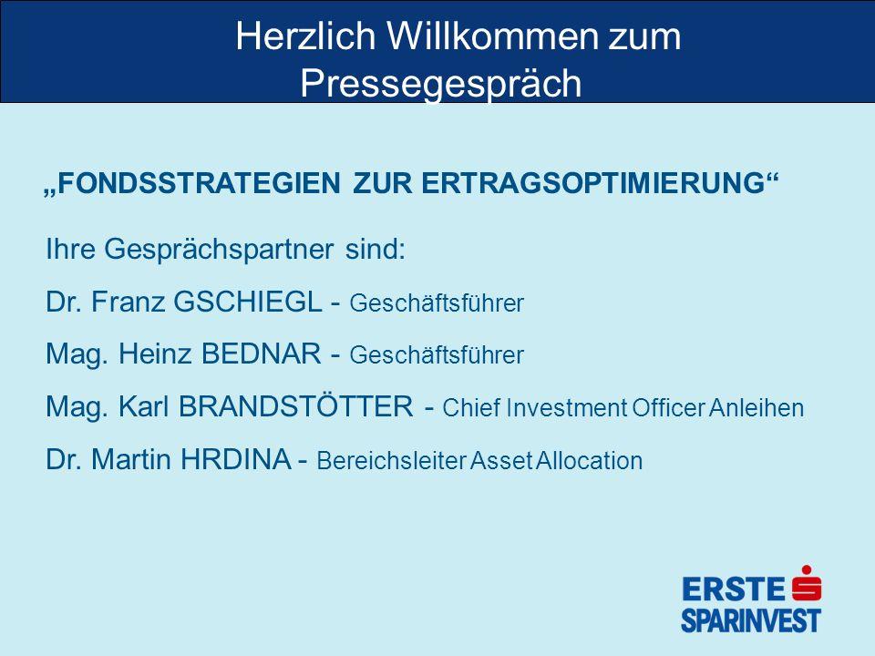 zHerzlich Willkommen zum Pressegespräch FONDSSTRATEGIEN ZUR ERTRAGSOPTIMIERUNG Ihre Gesprächspartner sind: Dr. Franz GSCHIEGL - Geschäftsführer Mag. H
