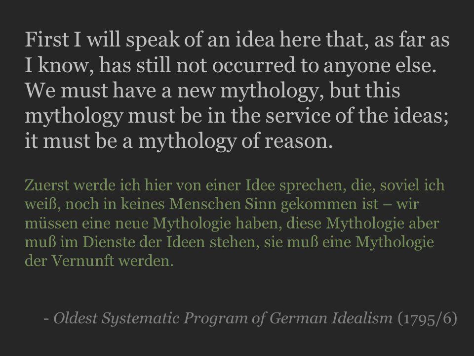 Friedrich Hölderlin, Preface to Hyperion (1797-9) Holy Plato, forgive us.