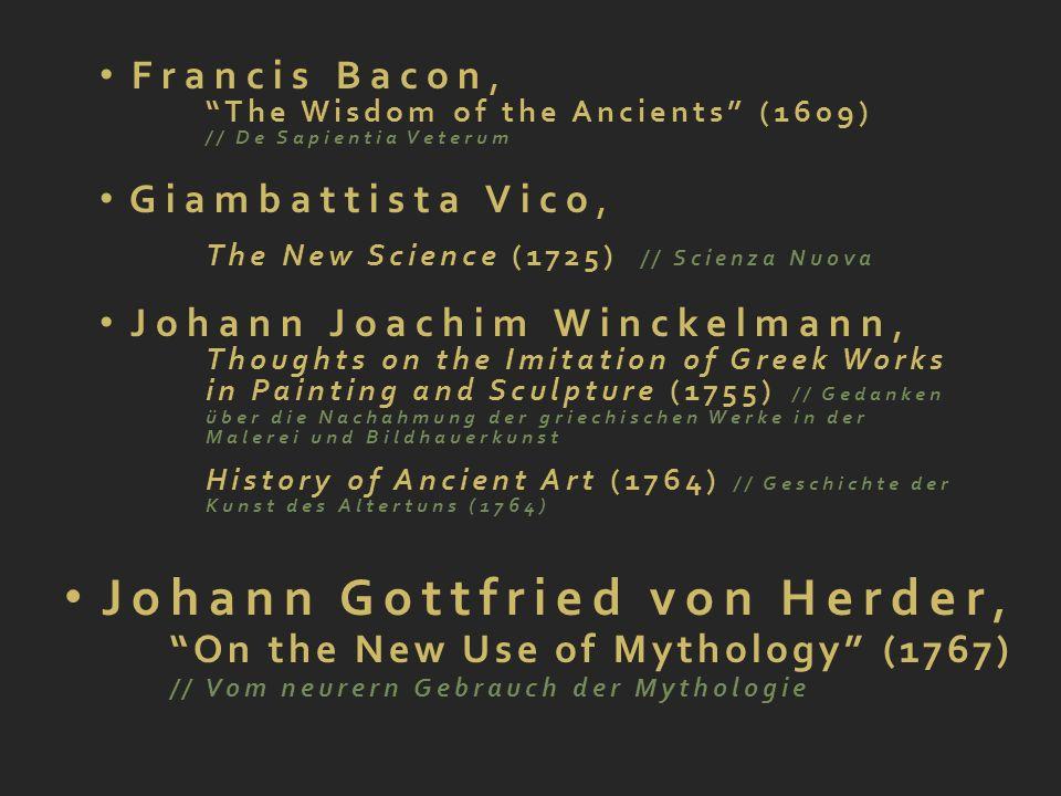 Johann Gottfried von Herder, On the New Use of Mythology (1767) // Vom neurern Gebrauch der Mythologie Goethe Friedrich Schiller