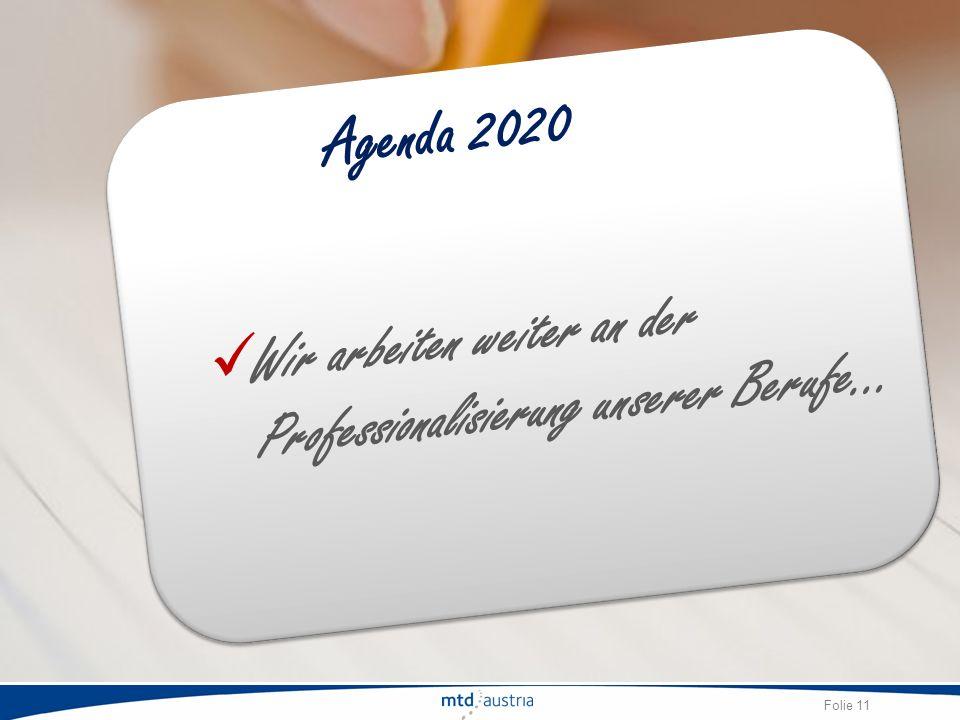 Folie 11 Wir arbeiten weiter an der Professionalisierung unserer Berufe… Agenda 2020