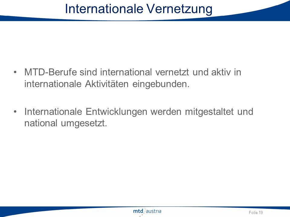 Folie 19 Internationale Vernetzung MTD-Berufe sind international vernetzt und aktiv in internationale Aktivitäten eingebunden. Internationale Entwickl