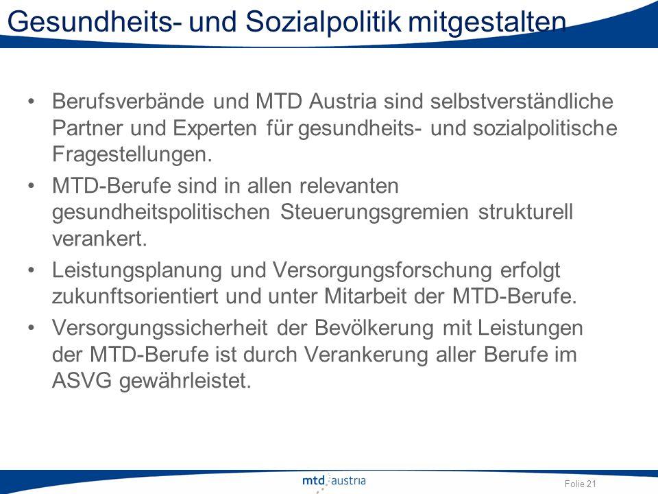 Folie 21 Gesundheits- und Sozialpolitik mitgestalten Berufsverbände und MTD Austria sind selbstverständliche Partner und Experten für gesundheits- und