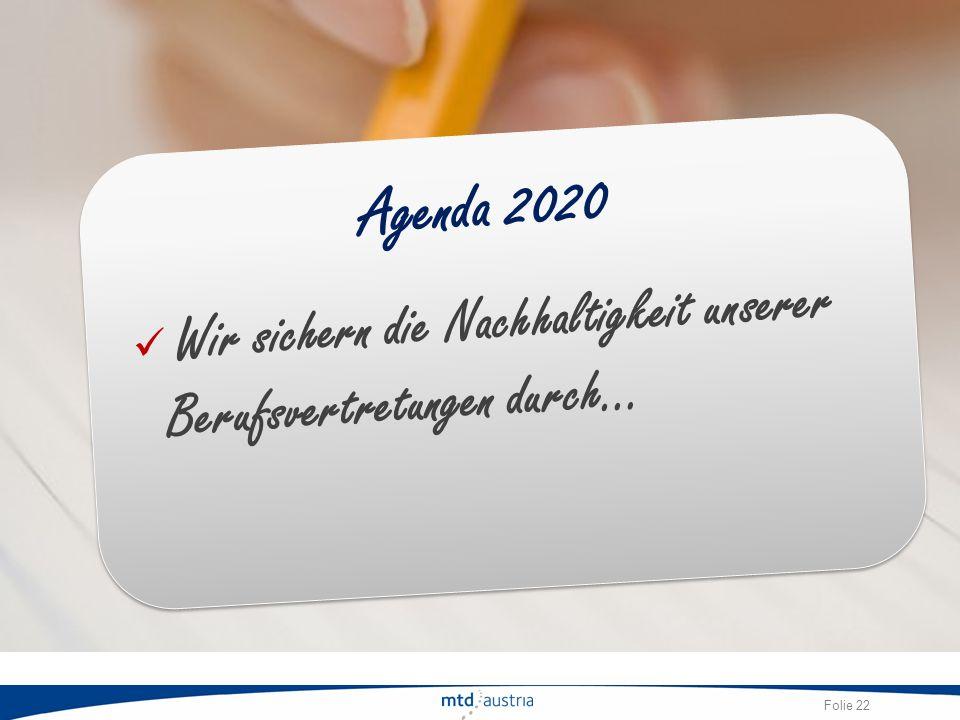 Folie 22 Agenda 2020 Wir sichern die Nachhaltigkeit unserer Berufsvertretungen durch…