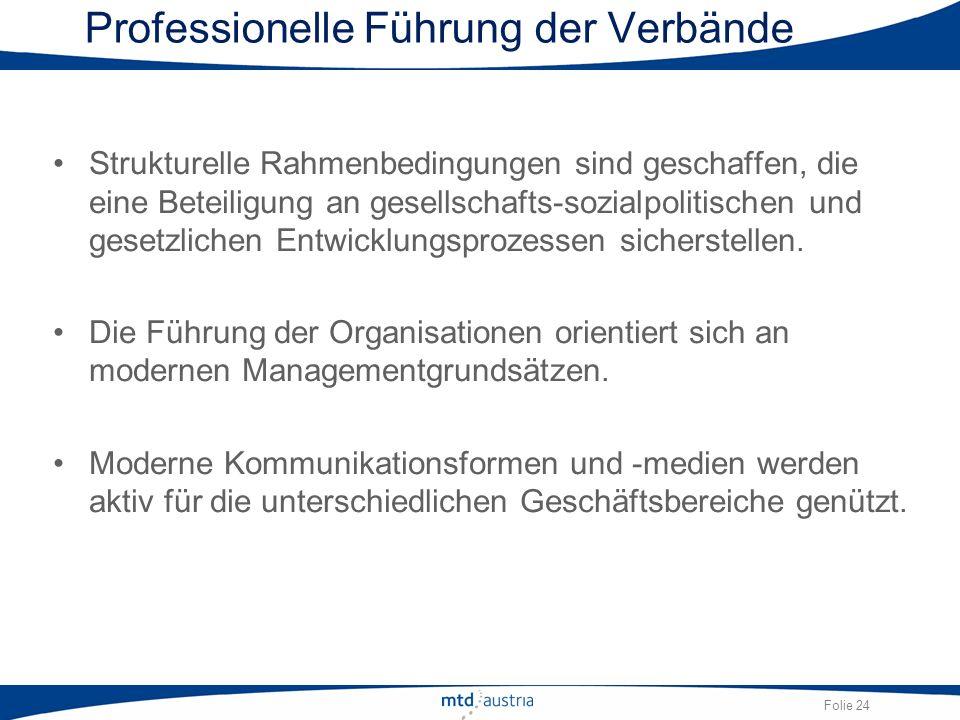 Folie 24 Professionelle Führung der Verbände Strukturelle Rahmenbedingungen sind geschaffen, die eine Beteiligung an gesellschafts-sozialpolitischen u