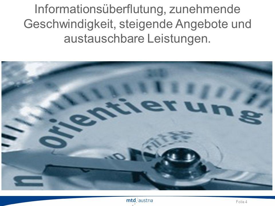 Folie 4 Informationsüberflutung, zunehmende Geschwindigkeit, steigende Angebote und austauschbare Leistungen.