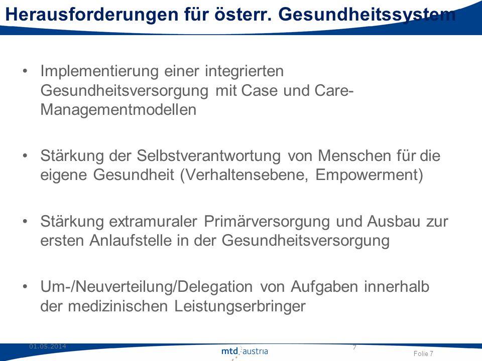 Folie 7 01.05.2014 7 Herausforderungen für österr. Gesundheitssystem Implementierung einer integrierten Gesundheitsversorgung mit Case und Care- Manag