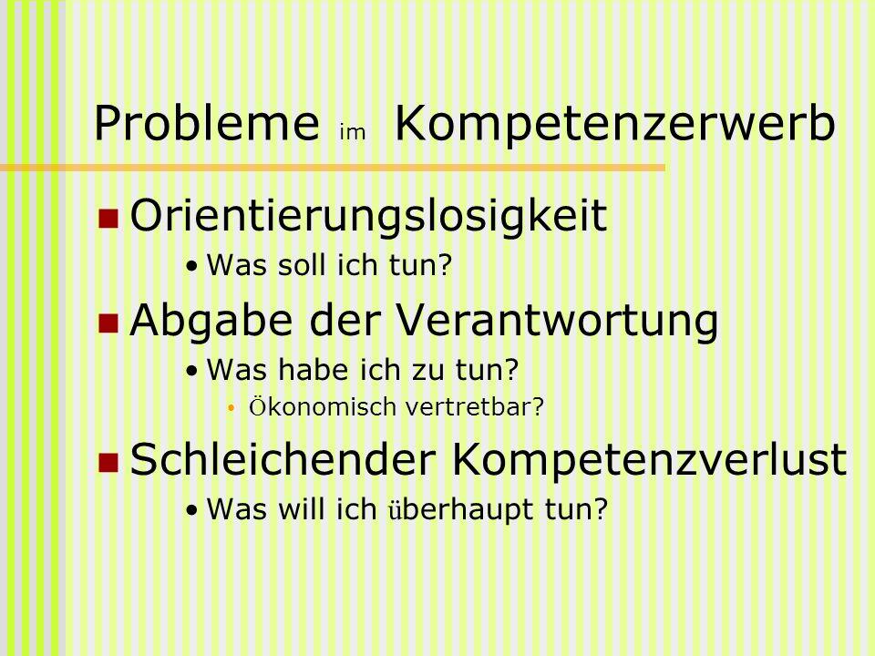 Probleme im Kompetenzerwerb Orientierungslosigkeit Was soll ich tun? Abgabe der Verantwortung Was habe ich zu tun? Ö konomisch vertretbar? Schleichend