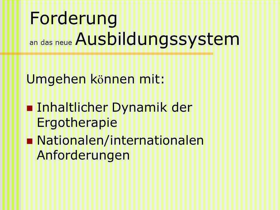 Forderung an das neue Ausbildungssystem Umgehen k ö nnen mit: Inhaltlicher Dynamik der Ergotherapie Nationalen/internationalen Anforderungen