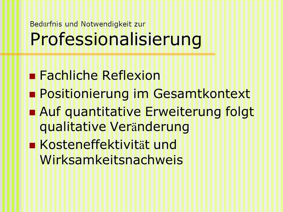Bed ü rfnis und Notwendigkeit zur Professionalisierung Fachliche Reflexion Positionierung im Gesamtkontext Auf quantitative Erweiterung folgt qualitat