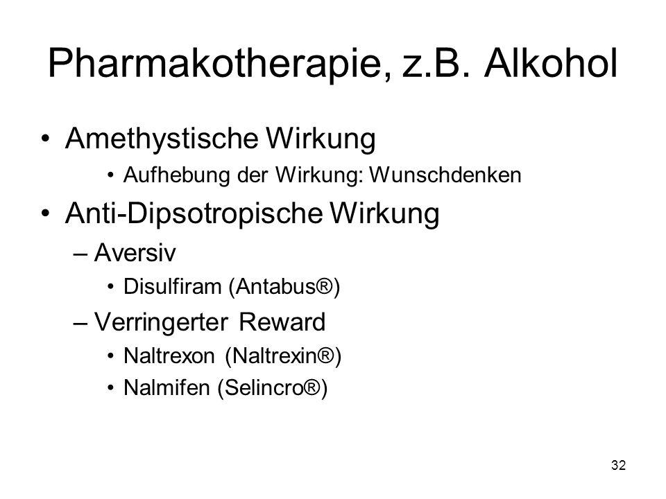 Pharmakotherapie, z.B. Alkohol Amethystische Wirkung Aufhebung der Wirkung: Wunschdenken Anti-Dipsotropische Wirkung –Aversiv Disulfiram (Antabus®) –V