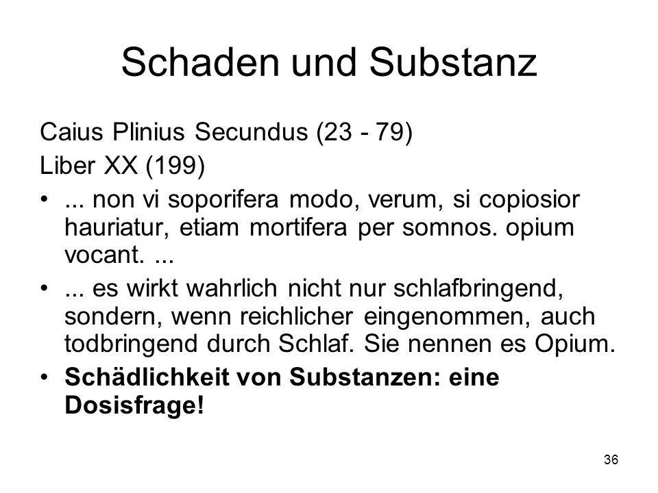 Schaden und Substanz Caius Plinius Secundus (23 - 79) Liber XX (199)... non vi soporifera modo, verum, si copiosior hauriatur, etiam mortifera per som