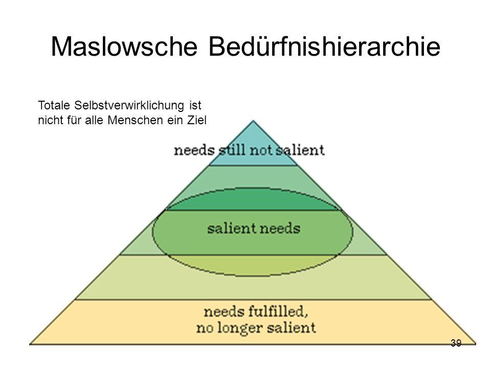 Maslowsche Bedürfnishierarchie Totale Selbstverwirklichung ist nicht für alle Menschen ein Ziel 39