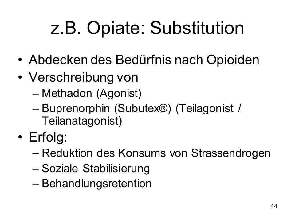 z.B. Opiate: Substitution Abdecken des Bedürfnis nach Opioiden Verschreibung von –Methadon (Agonist) –Buprenorphin (Subutex®) (Teilagonist / Teilanata