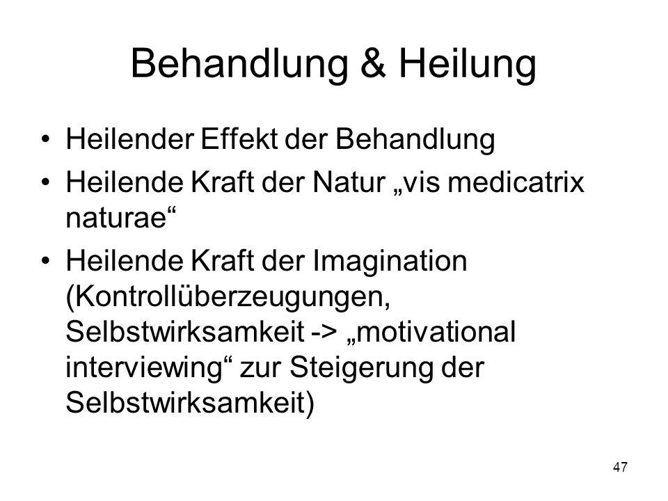 Behandlung & Heilung Heilender Effekt der Behandlung Heilende Kraft der Natur vis medicatrix naturae Heilende Kraft der Imagination (Kontrollüberzeugu