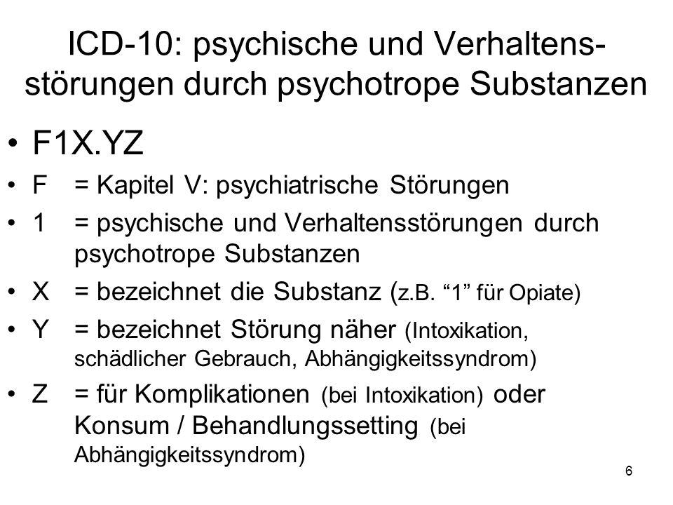 ICD-10: psychische und Verhaltens- störungen durch psychotrope Substanzen F1X.YZ F= Kapitel V: psychiatrische Störungen 1 = psychische und Verhaltenss