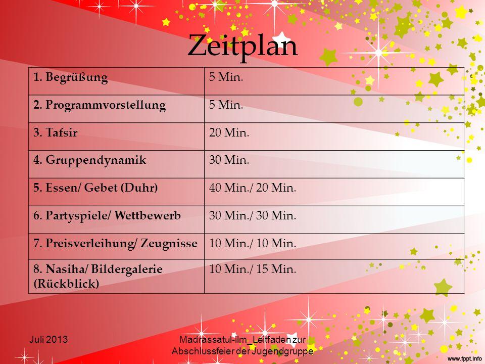 Zeitplan Juli 2013Madrassatul-ilm_Leitfaden zur Abschlussfeier der Jugendgruppe 1. Begrüßung5 Min. 2. Programmvorstellung5 Min. 3. Tafsir20 Min. 4. Gr