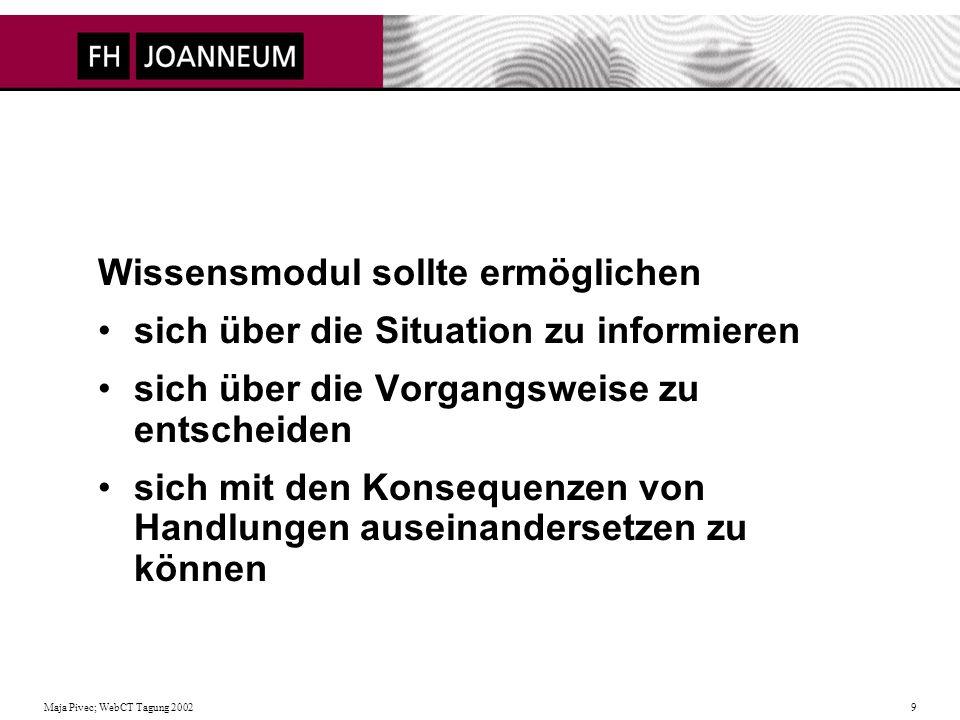 Maja Pivec; WebCT Tagung 2002 9 Wissensmodul sollte ermöglichen sich über die Situation zu informieren sich über die Vorgangsweise zu entscheiden sich mit den Konsequenzen von Handlungen auseinandersetzen zu können