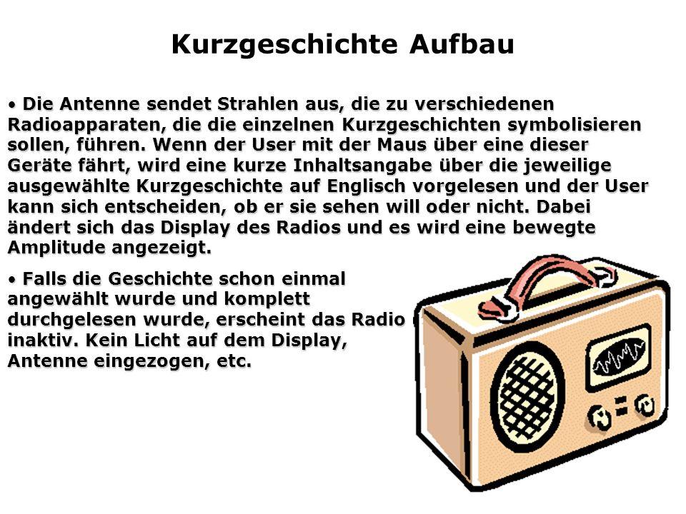 Kurzgeschichte Aufbau Die Antenne sendet Strahlen aus, die zu verschiedenen Radioapparaten, die die einzelnen Kurzgeschichten symbolisieren sollen, fü