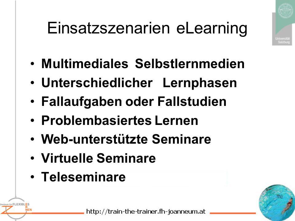 Einsatzszenarien eLearning Multimediales Selbstlernmedien Unterschiedlicher Lernphasen Fallaufgaben oder Fallstudien Problembasiertes Lernen Web-unterstützte Seminare Virtuelle Seminare Teleseminare