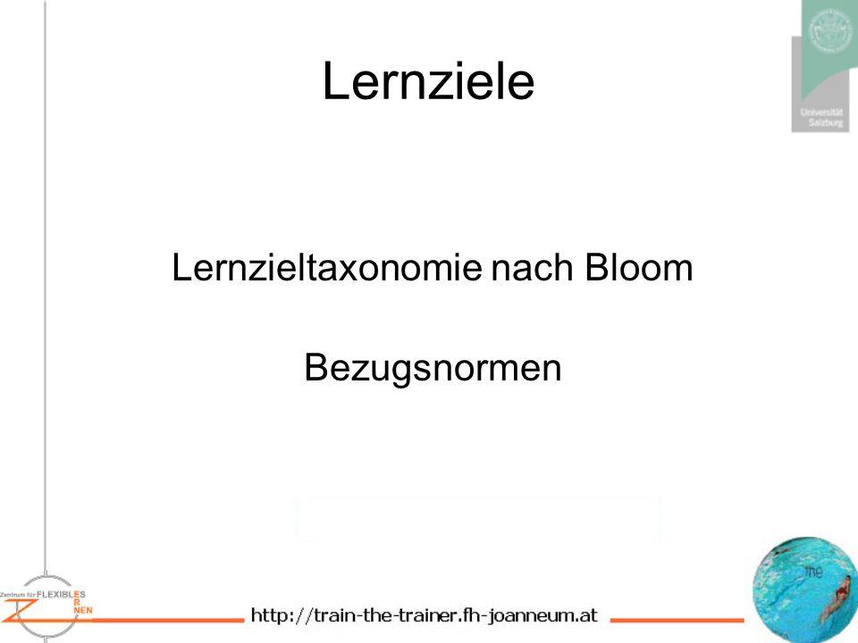 Lernziele Lernzieltaxonomie nach Bloom Bezugsnormen