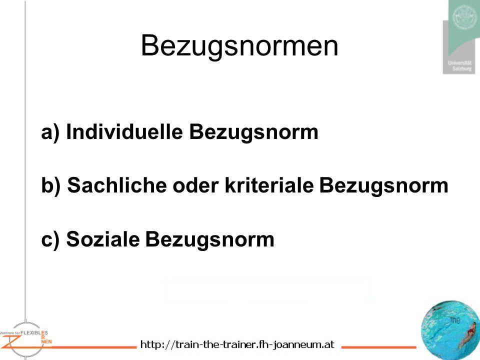 Bezugsnormen a) Individuelle Bezugsnorm b) Sachliche oder kriteriale Bezugsnorm c) Soziale Bezugsnorm