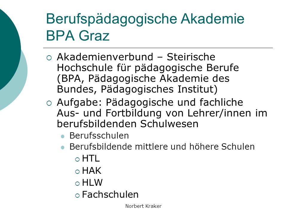 Norbert Kraker Lehrer/innenfortbildung Multiplikatorenschulung Institutionsinterne Schulung Betreuung bei der Content- Erstellung Entwicklung von Lernarrangements