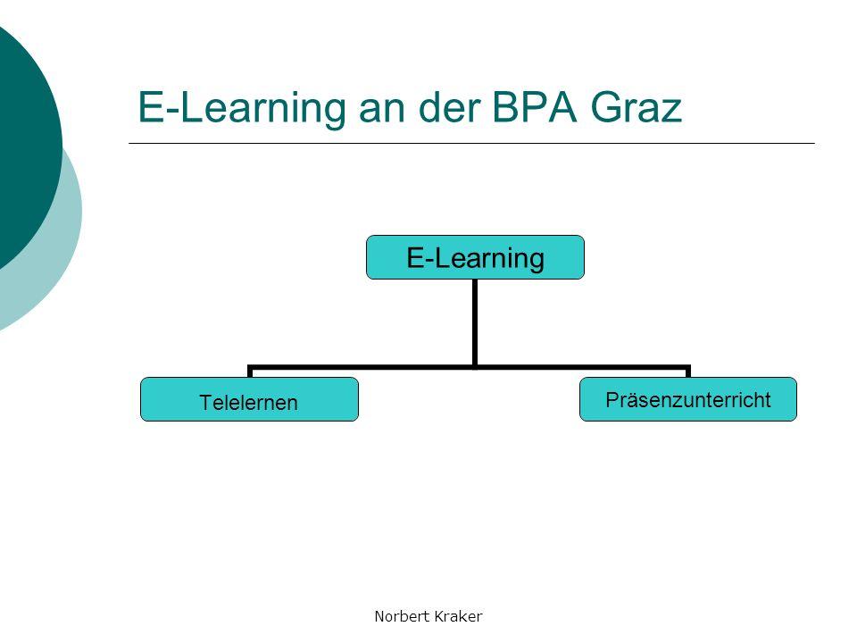 Norbert Kraker E-Learning Ist-Stand Druck der Schüler/innen Verunsicherung bei den Lehrenden Verunsicherung bei den Entscheidungsträger/innen/n IT-Offensive des Bildungsministeriums