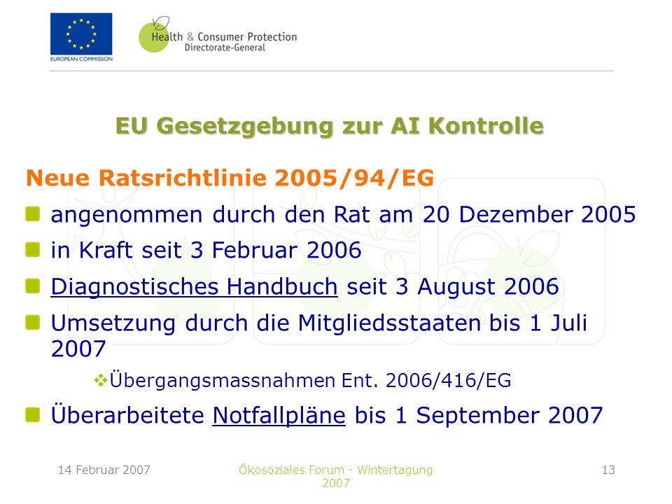 14 Februar 2007Ökosoziales Forum - Wintertagung 2007 13 Neue Ratsrichtlinie 2005/94/EG angenommen durch den Rat am 20 Dezember 2005 in Kraft seit 3 Februar 2006 Diagnostisches Handbuch seit 3 August 2006 Umsetzung durch die Mitgliedsstaaten bis 1 Juli 2007 Übergangsmassnahmen Ent.
