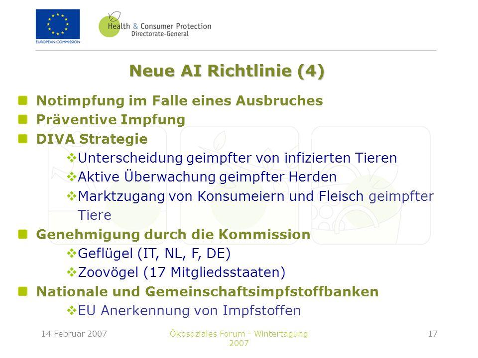 14 Februar 2007Ökosoziales Forum - Wintertagung 2007 17 Notimpfung im Falle eines Ausbruches Präventive Impfung DIVA Strategie Unterscheidung geimpfter von infizierten Tieren Aktive Überwachung geimpfter Herden Marktzugang von Konsumeiern und Fleisch geimpfter Tiere Genehmigung durch die Kommission Geflügel (IT, NL, F, DE) Zoovögel (17 Mitgliedsstaaten) Nationale und Gemeinschaftsimpfstoffbanken EU Anerkennung von Impfstoffen Neue AI Richtlinie (4)