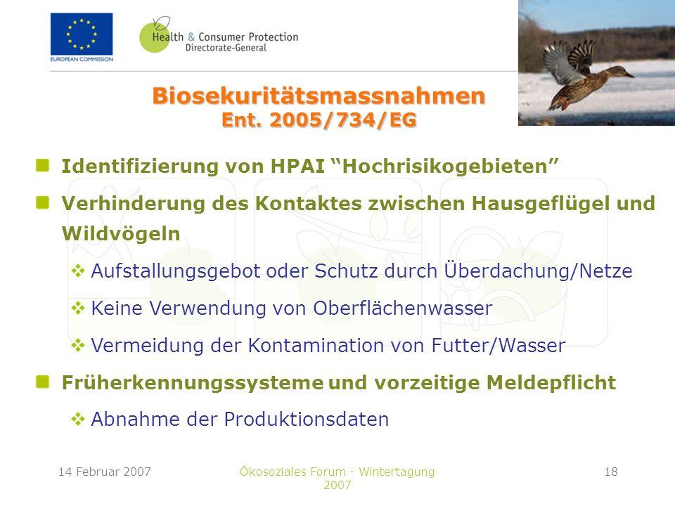 14 Februar 2007Ökosoziales Forum - Wintertagung 2007 18 Identifizierung von HPAI Hochrisikogebieten Verhinderung des Kontaktes zwischen Hausgeflügel und Wildvögeln Aufstallungsgebot oder Schutz durch Überdachung/Netze Keine Verwendung von Oberflächenwasser Vermeidung der Kontamination von Futter/Wasser Früherkennungssysteme und vorzeitige Meldepflicht Abnahme der Produktionsdaten Biosekuritätsmassnahmen Ent.