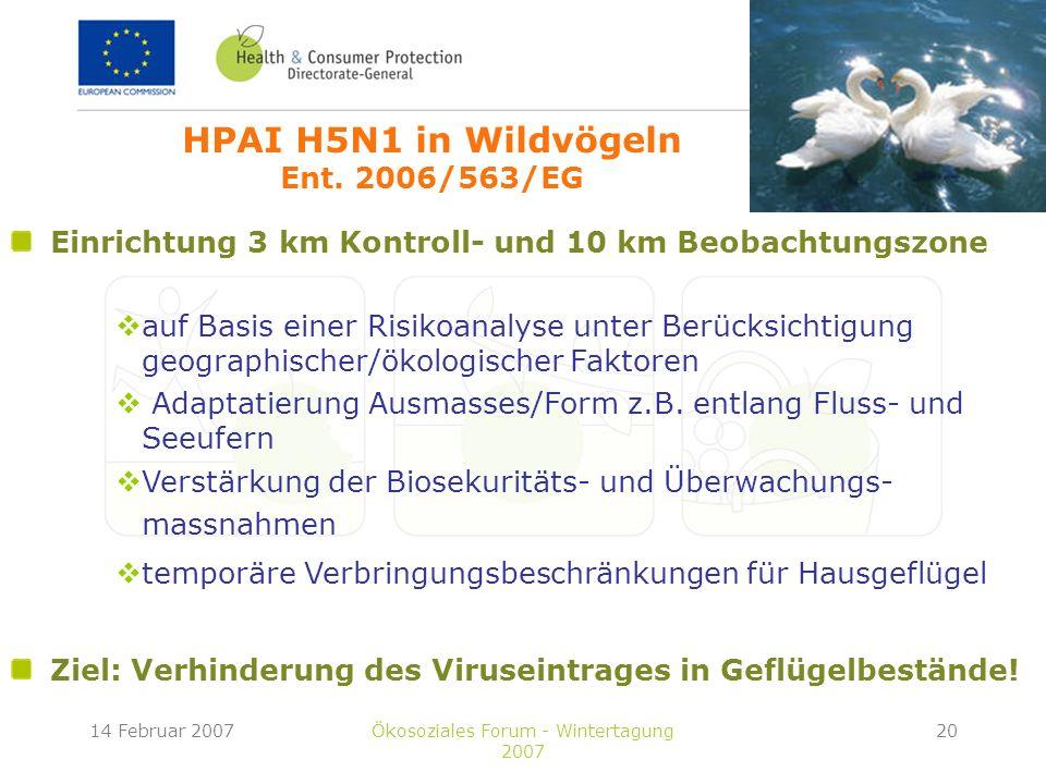 14 Februar 2007Ökosoziales Forum - Wintertagung 2007 20 Einrichtung 3 km Kontroll- und 10 km Beobachtungszone auf Basis einer Risikoanalyse unter Berücksichtigung geographischer/ökologischer Faktoren Adaptatierung Ausmasses/Form z.B.