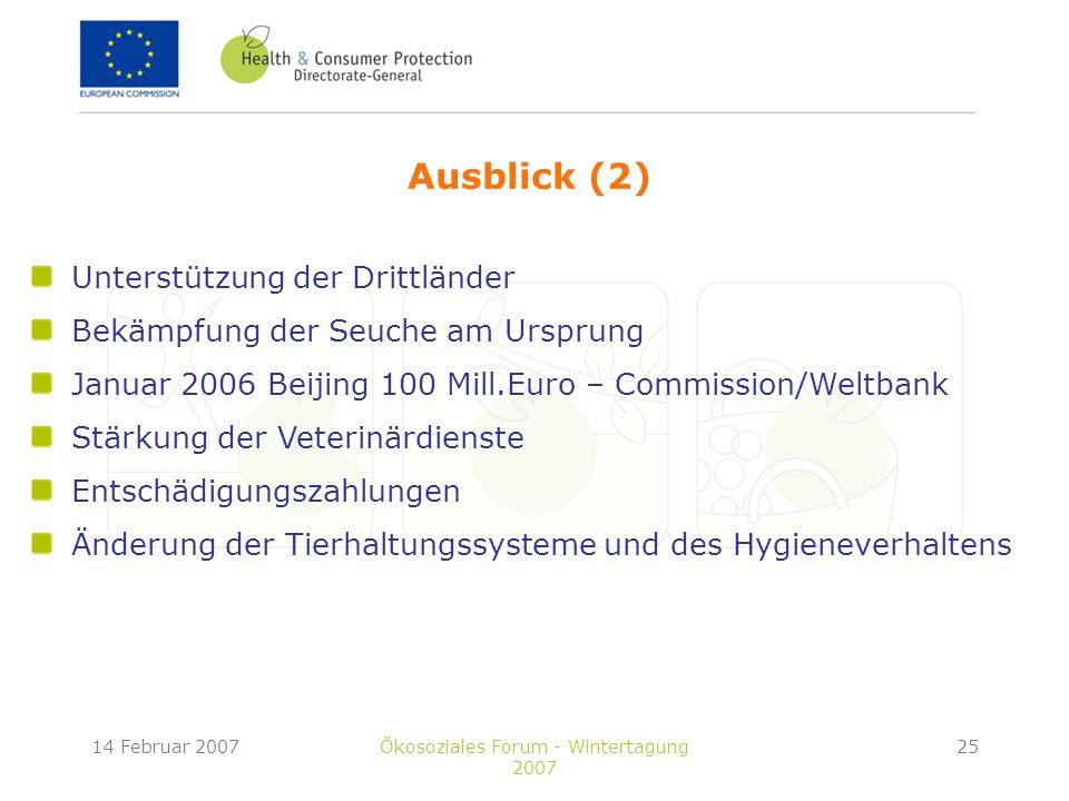14 Februar 2007Ökosoziales Forum - Wintertagung 2007 25 Ausblick (2) Unterstützung der Drittländer Bekämpfung der Seuche am Ursprung Januar 2006 Beijing 100 Mill.Euro – Commission/Weltbank Stärkung der Veterinärdienste Entschädigungszahlungen Änderung der Tierhaltungssysteme und des Hygieneverhaltens