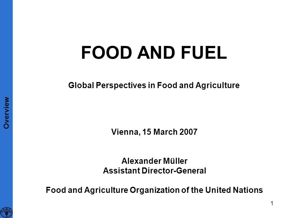 1 FOOD AND FUEL Global Perspectives in Food and Agriculture Vienna, 15 March 2007 Alexander Müller Assistant Director-General Food and Agriculture Organization of the United Nations Overview