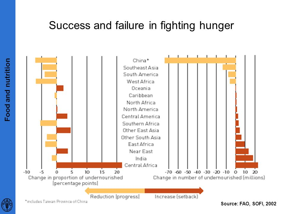 10 Success and failure in fighting hunger Source: FAO, SOFI, 2002 Food and nutrition