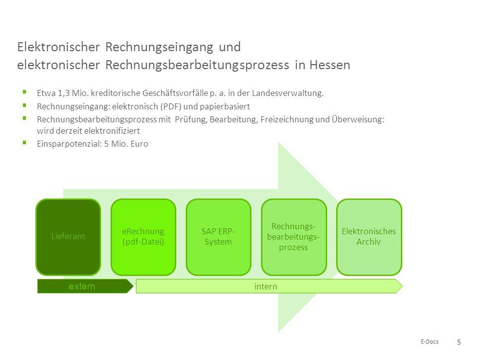 5 E-Docs Elektronischer Rechnungseingang und elektronischer Rechnungsbearbeitungsprozess in Hessen Etwa 1,3 Mio. kreditorische Geschäftsvorfälle p. a.