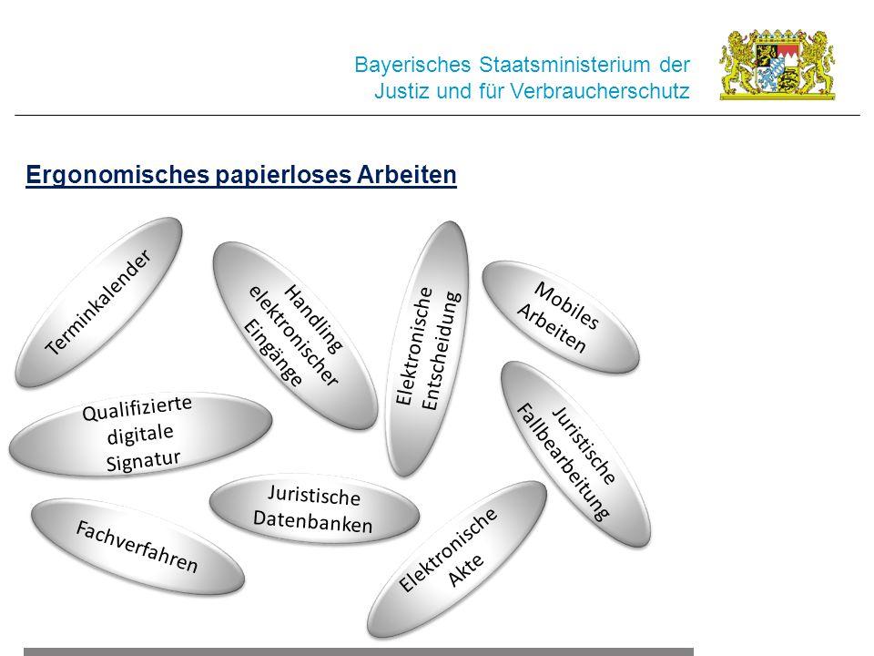 Bayerisches Staatsministerium der Justiz und für Verbraucherschutz Ergonomisches papierloses Arbeiten Handling elektronischer Eingänge Juristische Fal