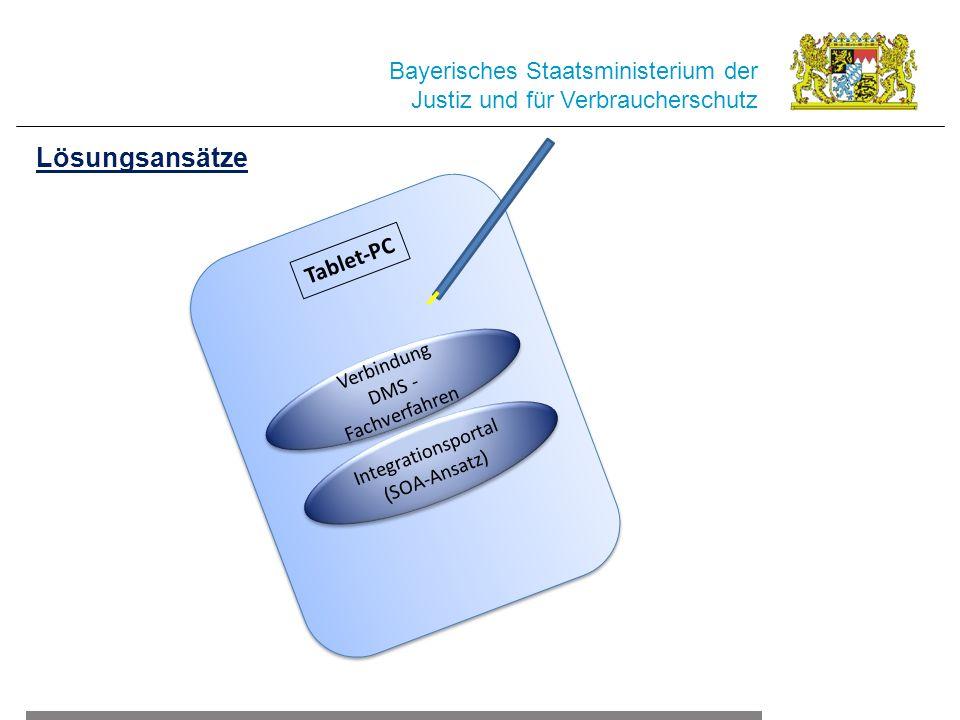 Tablet-PC Bayerisches Staatsministerium der Justiz und für Verbraucherschutz Lösungsansätze Integrationsportal (SOA-Ansatz) Integrationsportal (SOA-Ansatz) Verbindung DMS - Fachverfahren