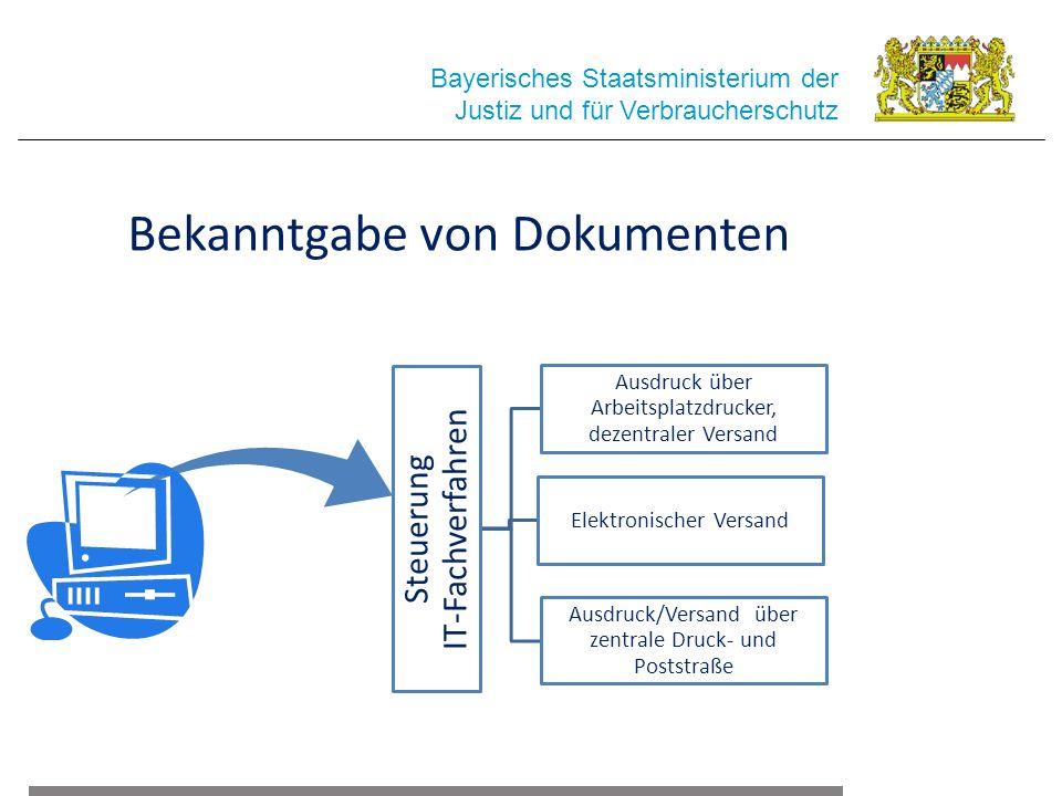 Bayerisches Staatsministerium der Justiz und für Verbraucherschutz Bekanntgabe von Dokumenten Steuerung IT-Fachverfahren Ausdruck über Arbeitsplatzdrucker, dezentraler Versand Elektronischer Versand Ausdruck/Versand über zentrale Druck- und Poststraße