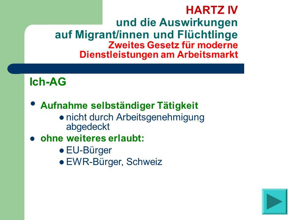 Zweites Gesetz für moderne Dienstleistungen am Arbeitsmarkt HARTZ IV und die Auswirkungen auf Migrant/innen und Flüchtlinge Ich-AG Aufnahme selbständi